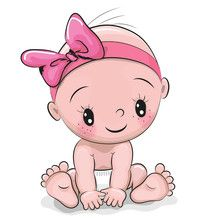 Vektor: Cute cartoon baby girl
