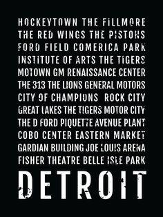 Detroit Print, Detroit Subway Sign Poster, Michigan Wall Art, Décor, Canvas, Word Map, Gift, Bus Scroll, Typography, Minimal, Custom
