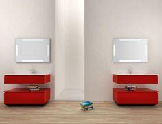 Infinity IN17 Modular Italian Bathroom Vanity in Red Carmino Lacquer
