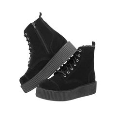 Love this! Mondo Creeper Boot in Black Suede <3 www.beserk.com.au/tuk #tukshoes #tuk #creeper #beserk  #alternative