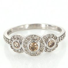 Vintage 14 Karat White Gold Round Halo Three Colored Diamond Ring Estate Jewelry