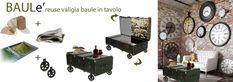 Collezione di  tavoli da salone anni 50'60'70′ eco sostenibili  realizzati recuperando vecchie valige, bauli, casse di legno recuperate nelle cantine, in discarica o acquistate nei mercatini dell'antiquariato , ristrutturati personalizzati, ottenendo eleganti e originali tavolini.  Materia prima: valigia baule Oggetto: tavolini da salone Materiali: legno massello in varie essenze, yuta ,ruote anni 50, Finiture: pittura naturale, giornali