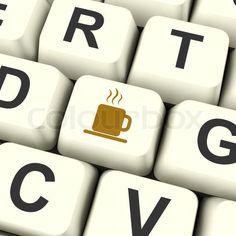 'Coffee Mug Icon Computer Key As Symbol For Taking A Break'