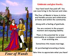 FOUR OF WANDS #4wands #tarotcardmeaning