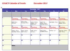 Legacy December Calendar of Events