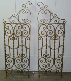 Pair Vtg Mid Century Gold Gilt Metal Wrought Iron Curule Garden Fence Gates