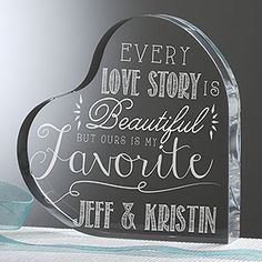 This is so beautiful!!! You can personalize it with any 2 names and you can pick from 4 beautiful love quotes! This would be a great anniversary or wedding gift idea ... and it can actually be used as a wedding cake topper! #wedding #caketopper #weddinggift #anniversarygift #romantic