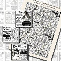 Images,Digital,Stickers,Collage,Illustration,square,inch,quack,patent,medicine,advertisements,victorian