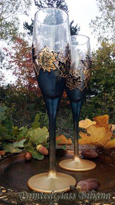 Ensemble automne de 2 main peint feuille d'érable flûtes à