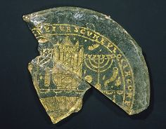 Bowl Fragments with Menorah, Shofar, and Torah Ark, Roman Empire, 300-350 A.D.