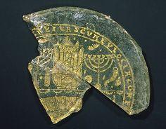 Bowl Fragments with Menorah, Shofar, and Torah Ark, Roman Empire, 300-350 A.D.