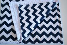 Minky Chevron Baby Blanket Navy Blue and White Chevron Stripe. $42.00, via Etsy.