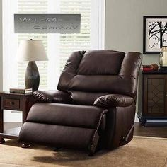 Brown Leather Rocker Recliner Big Man Lazy Boy Chair Living Room  Barcalounger