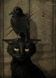 "the raven and the cat (small raven that is. or perhaps the artist is one of those who thinks ""raven"" and ""crow"" are synonymous. Fantasy Kunst, Fantasy Art, Dark Fantasy, Pinterest Arte, Art And Illustration, Illustrations, The Raven, Raven Art, Arte Obscura"
