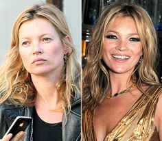 How to do make up for hooded eyes.  Kate Moss with and without make up.