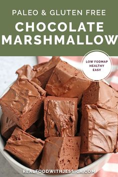 These Paleo Chocolate Marshmallows are easy to make and so delicious! Only 4 ingredients and the best tasting marshmallows you'll ever have. Gluten free, dairy free, and maple syrup sweetened. #paleo #glutenfree #healthy #dairyfree #marshmallow | realfoodwithjessica.com via @realfoodwithjessica Paleo Dessert, Paleo Sweets, Gluten Free Desserts, Healthy Desserts, Gluten Free Recipes, Gourmet Recipes, Dessert Recipes, Paleo Food, Healthy Treats