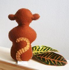 Wool Felt Monkey Waldorf Toy Stuffed Animal Hand by GardenBirdie