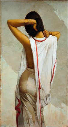 A sensuous portrait of an Indian woman emerging from her bath in a fine, white . - A sensuous portrait of an Indian woman emerging from her bath in a fine, white cotton sari, clingi - Indian Women Painting, Indian Art Paintings, Indian Artist, Saree Painting, Sexy Painting, Woman Painting, Indian Art Gallery, Indian Photoshoot, India Art