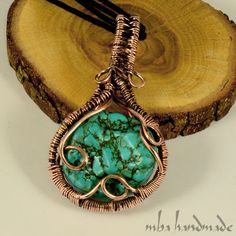 Turquoise Natural Gemstone Vintage Pendant Copper Wire Wrapped Artisan Necklace #MBAHandmade #Wrap