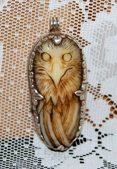 Your place to buy and sell all things handmade Metal Tools, Owl Pendant, Bone Carving, Whittling, Multi Strand Necklace, Beautiful Hands, Hand Carved, Bones, Jade