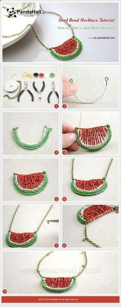 Jewelry Making Tutorial-How to Make a Seed Bead Watermelon Necklace | PandaHall Beads Jewelry Blog