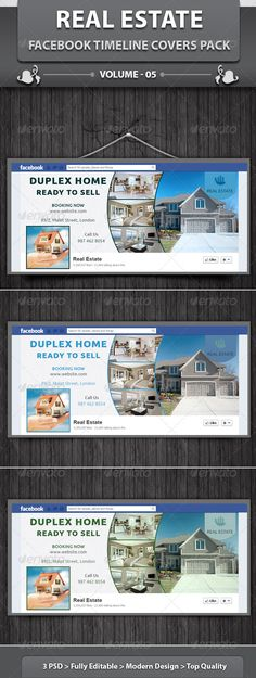 Real Estate Business FB Timeline | Volume 3  #GraphicRiver         Real Estate business FB Timeline is a designed for any types of companies. It is made by simple shapes although looks very professional. Easy to modify, change colors, dimensions, get different combinations to suit the feel of your event. It's a clean, professional, readable template suitable for real estate management agencies, homeowner, properties agent and any related businesses with easy editing.  	 A set of poster…