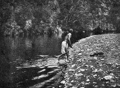"""The bathing pool - Apache"" - Photo by Edward S. Curtis - 1906 - (B/w copy)"