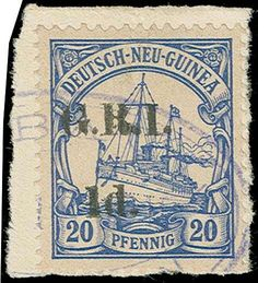 """Philasearch.com - German New Guinea British Occupation, Scott 19d. 19d, 1914 """"1d"""" on 20pf Ultramarine,  pos 4, tied on piece by blue Rabaul datestamp, a vertical indentation at top and a horiz crease at the bottom, o/w Very Fine, a great rarity, 2014 BPA certificate (Scott $13,000; SG (New Guinea) 19m, £13,000)"""