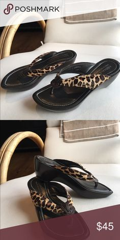 Donald Pliner Leopard Wedge Sandals OMG I wish these fit me better! Super cute wedge sandal from Donald Pliner. Never worn - just a little too short for me. These are a size 7.5 and run narrow. I bought them again in an 8 haha! Hope they can work for you! Donald J. Pliner Shoes Sandals