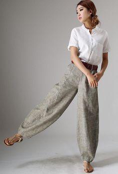 pants and shirt Beige Outfit, Outfit Zusammenstellen, Linen Pants Women, Pants For Women, Maxi Pants, Baggy Clothes, Baggy Pants Outfit, Summer Pants, Linen Blouse