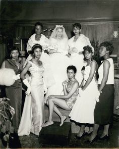 Charlotta Bass / California Eagle Photograph Collection, 1870-1960 :: African American bride posing with bridesmaids, Los Angeles, ca. 1951-1960