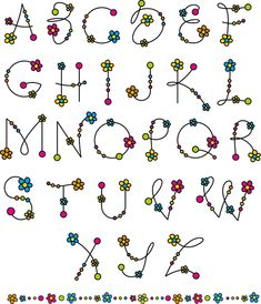 Flower alphabets letters vectors 02