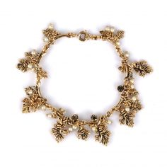 Bracelet Grappe de Perles: feuilles de vigne