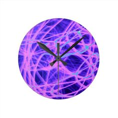Abstract Crazy Strings Of Purple And Blue Light Round Wallclocks