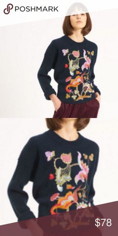 Indian Summer Jumper Gorgeous embroidered navy blue jumper, perfect for dinner dates or day parties!  Pair with jeans and tan boots for the perfect colorful look!  50% ACRYLIC, 45% Polyamide, 5% Wool  Hand Wash The Korner Paris Sweaters Crew & Scoop Necks