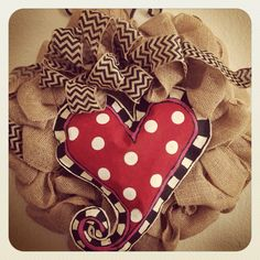 Burlap wreath with interchangeable canvas heart.  Make a shamrock, Easter egg etc.  One wreath to use all year.