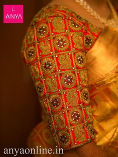 Anya provides best collection of bridal blouses in RS Puram and Gandhipuram, Coimbatore. Pretty thread and Kundan work blouse customised from Anya Boutique Coimbatore. #pretty #Kundan_work #Bridal_blouse