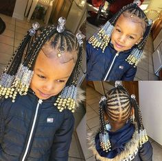 Little Girl Braid Hairstyles, Toddler Braided Hairstyles, Toddler Braids, Little Girl Braids, Cute Hairstyles For Kids, Baby Girl Hairstyles, Braids For Kids, Kids Braids With Beads, Little Girls Natural Hairstyles