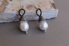 Long Dangle Pearl Earrings, Large Free Form Freshwater Pave Pearls, Natural Black Spinel Bail Sterling Silver June Birthstone wedding bridal by Wired2BDesired on Etsy