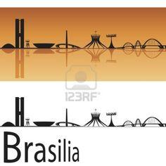 Brasilia skyline in background arancione nel file vettoriale modificabile Archivio Fotografico - 15176612