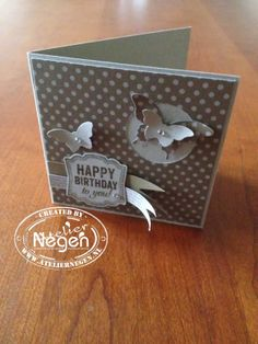 Stampin' Up! Label Love stamp set, Bitty Butterfly punch, Elegant Butterfly punch and Artisan Label punch...By Atelier Negen
