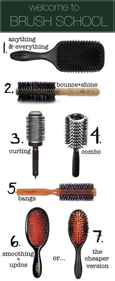 Know which brush does what. | 29 Hairstyling Hacks Every Girl Should Know