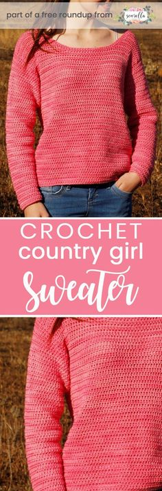 Get the free crochet pattern for this country girl sweater from Nurturing Fibres featured in my crochet that looks knit FREE pattern roundup!