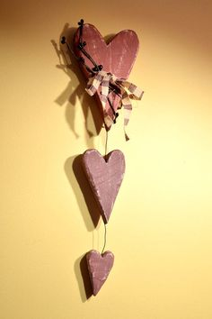 Three Hanging Primitive Hearts by BishopsHollow on Etsy Valentines Day decor