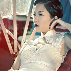 Cheongsam inspired wedding dress