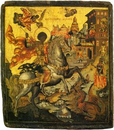 Russian or Greek icon depicting St. George and the Dragon. Byzantine Art, Byzantine Icons, Religious Paintings, Religious Art, Saint George And The Dragon, Greek Icons, Russian Icons, Icon Collection, Orthodox Icons