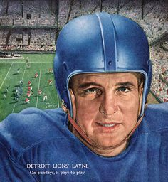 Detroit Lions Football player Bobby Layne 1954 TIME cover art by Giro
