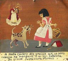 Благодарю Святую Критерию за то, что бешеная собака не покусала мою дочку Каталину. Хуана Лаура Морено