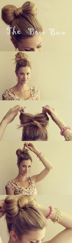 The Hair Bow Bun - love this so much, doubt it would work in my hair, but I love, love, love! Once my hair is long enough I know I could attempt putting my hair up in this hair bow Bun! the hair bow Bun style! Pretty Hairstyles, Girl Hairstyles, Wedding Hairstyles, Medium Hairstyles, Latest Hairstyles, Quick Hairstyles, Curly Haircuts, Fringe Hairstyles, Disney Hairstyles
