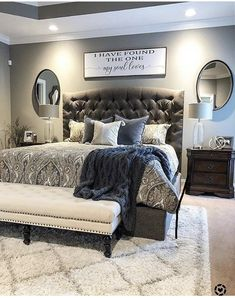Like the rug under bed - New Bedroom İdeas Master Room, Master Bedroom Makeover, Master Bedroom Design, Dream Bedroom, Home Bedroom, Bedroom Ideas, Headboard Ideas, Master Bedrooms, Bedroom Decor Master For Couples
